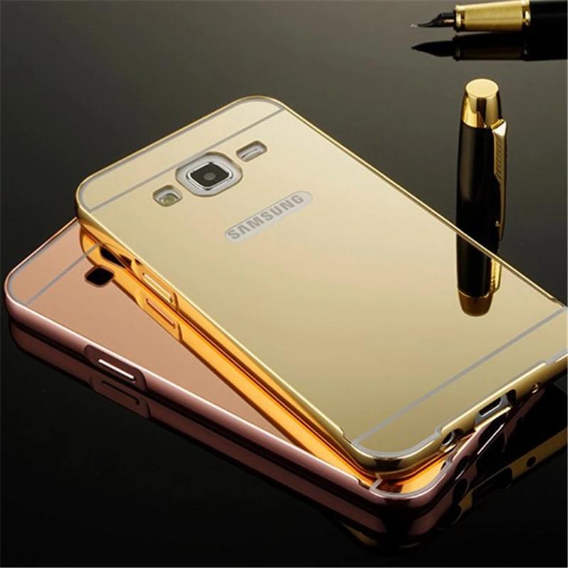 Coque de luxe en aluminium avec miroir doré, Capas de protection arrière chromé pour Samsung Galaxy J5 J7 J3 2016