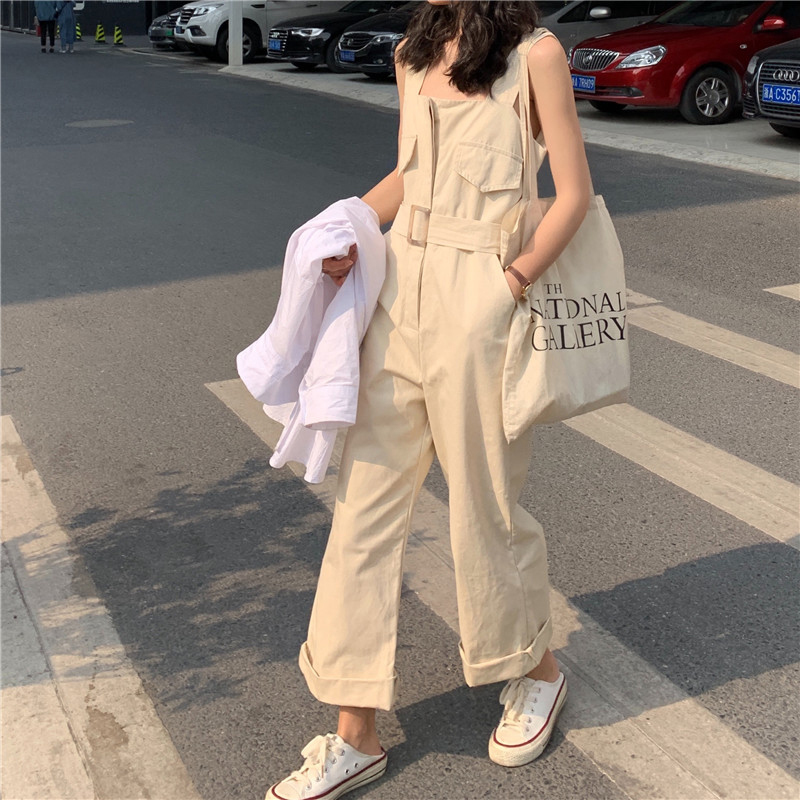 Style Casual Jumpsuit Women 2019 Fashion Solid Square Collar Sleeveless With Sashes Beige Blue Straight Cotton Overalls bodysuit in Jumpsuits from Women 39 s Clothing