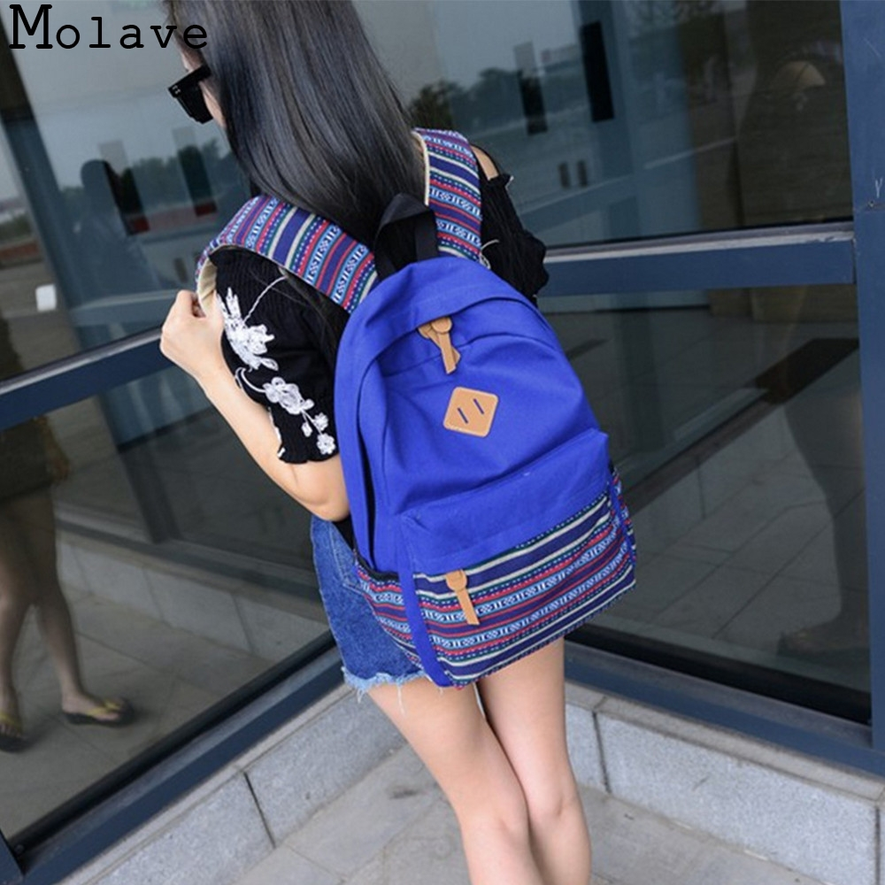 MOLAVE Backpacks Girls Canvas embroidery Vintage Rucksack College School bag Silt Pocket women backpack 2017 dec13