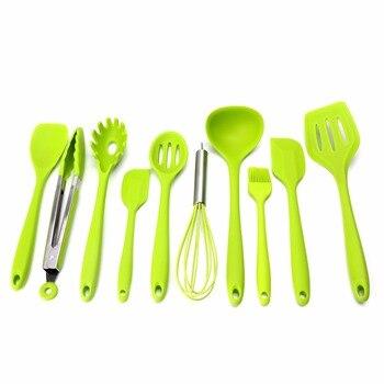 10 adet/takım Yeşil Isıya Dayanıklı yapışmaz Silikon Mutfak Eşyaları Seti Pişirme Fırında Aracı Spatula, Kaşık, fırçası, Çırpma, Tong C42