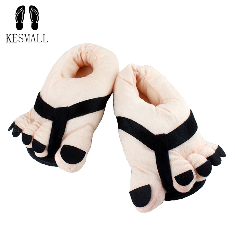 KESMALL Warm Soft Slippers Fashion Big Hairy Unisex Savage Monster Hobbit Feet Plush Home Slippers Indoor Lovers 3D Shoes Gift soft plush big feet pattern novelty slippers