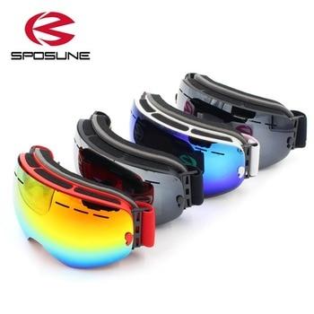Pria Wanita Tanpa Bingkai Kacamata Ski Sposune Double Lapisan Salju Musim Dingin Olahraga Anti-Kabut Tahan Angin Kacamata Salju Masker Kacamata