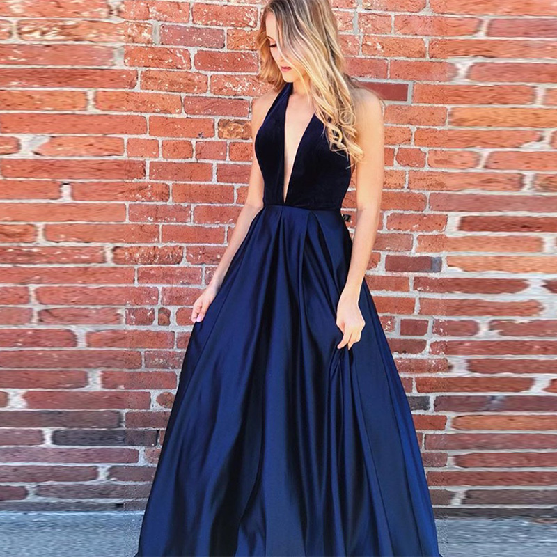 Navy Blue   Prom     dresses   Deep V-neck Halter Open Back Long   Dress   For   Prom   Vestido Longo Festa Gala A-line Women   Prom   Party   Dresses