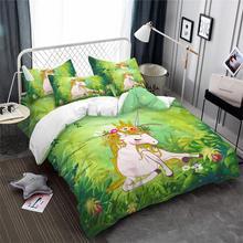 Princess Unicorn Bedding Set Fresh Green Plant Print Duvet Cover Natural Scenery Bedclothes Girls Cartoon 3Pcs