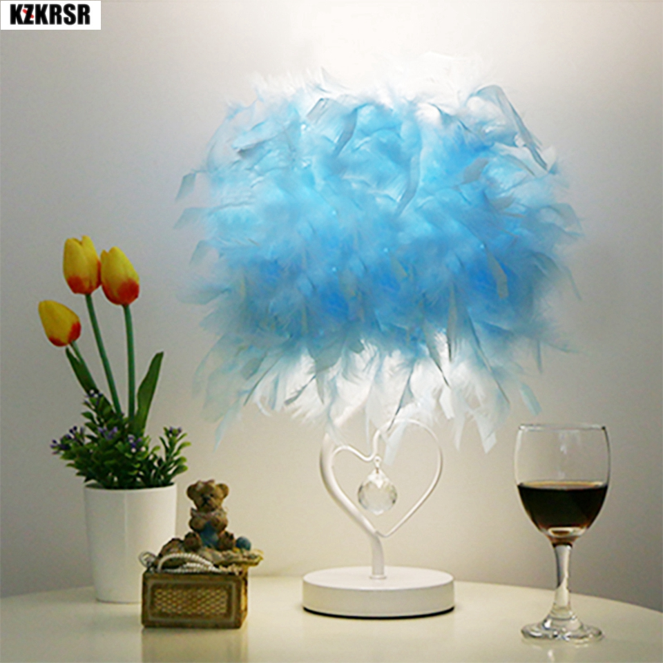 KZKRSR AC110-265V 4 Colors Bedside Reading Room Sitting Room Heart Shape Feather Crystal Table Lamp Light with EU US UK AU Plug office table decoration led desk lamp nightlights bedside room sitting room heart shape feather crystal table lamp