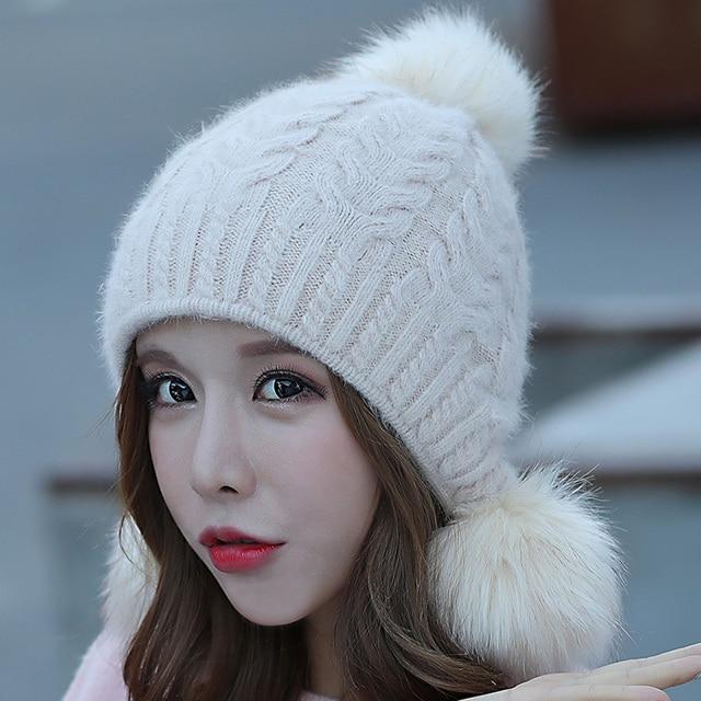 Rabbit hair ball hats pom poms winter hats for women  Skullies gorras hat knitted beanies cap new thick cap