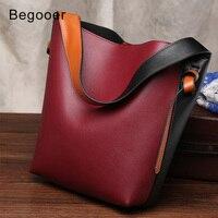 BEGOOER Genuine Leather Bucket Bag Women Leather Luxury Women's Handbag Panelled Ladies Bags Designer High Quality Fashion Sac