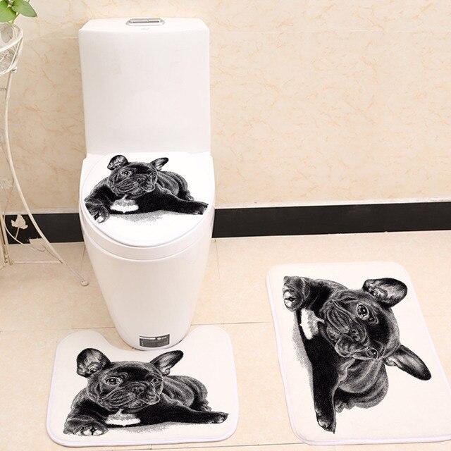 Miracille Nero Sveglio Bulldog Francese Stampa 3 pz/set Toilet Seat Cover Bagno Coperta Antiscivolo Corallo Del Panno Morbido Tappetino bagno Decor