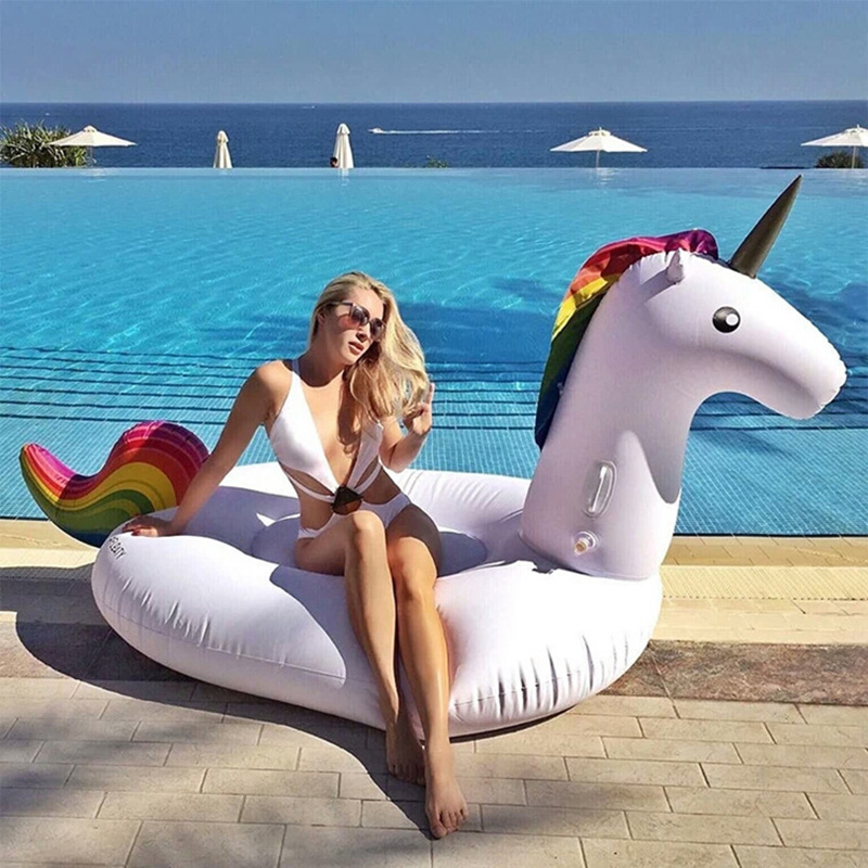 270CM Unicorn Swimming Float Inflatable Unicorn Swimming Float Unicorn Pool Float Tube Raft Kid Swimming Ring Summer Water Toys
