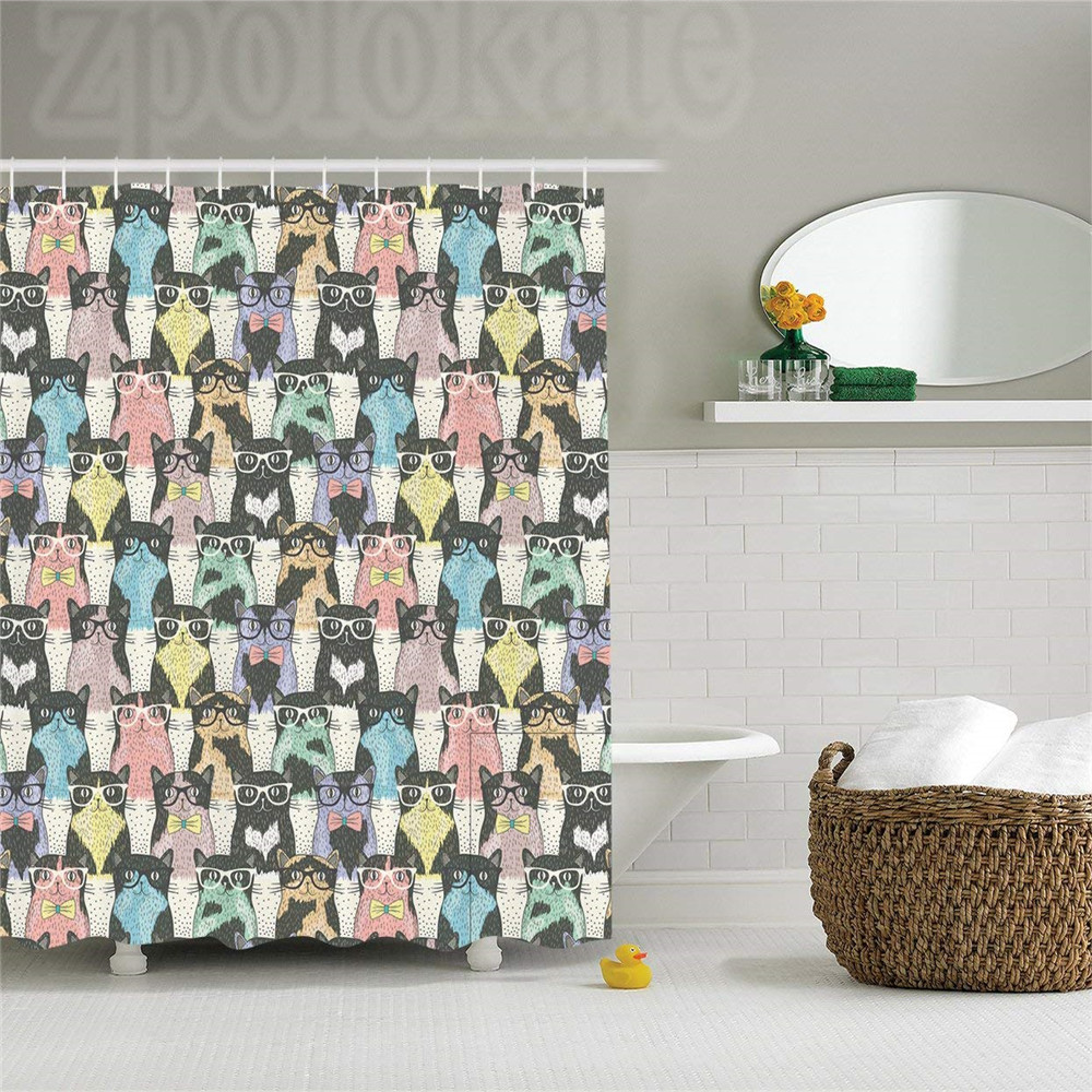 Cat Shower Curtain Funny Cartoon Decor for Kids, Playful Hipster and Cats with Glasses T ...