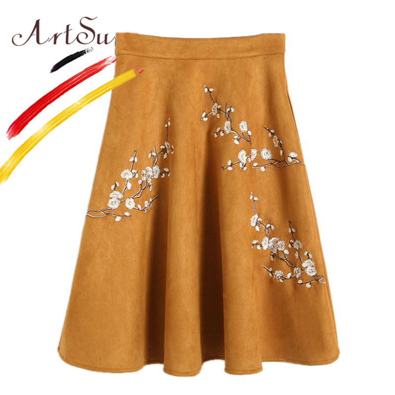 ArtSu Vintage Ethnic Pleated Midi Skirts 2017 Winter Floral Embroidery Knee-Length Skirt Women High Waist Suede Skirts ASSK20051