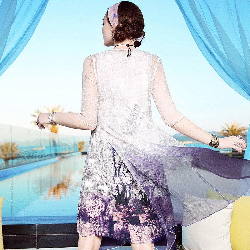 100Robe Gros A11zt477 Costume Coat Été Deux Femmes Shawl pièce En 2017 Vêtements 2pc Américain Européen Soie Et Dress Fleur WH2IE9D