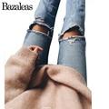 Bazaleas 2017 Ambas Rodillas Agujero Vaqueros Bolsillos Denim Jeans Mujer Pantalones Casuales de Fondo Ripped Boyfriend Jeans Para Mujeres