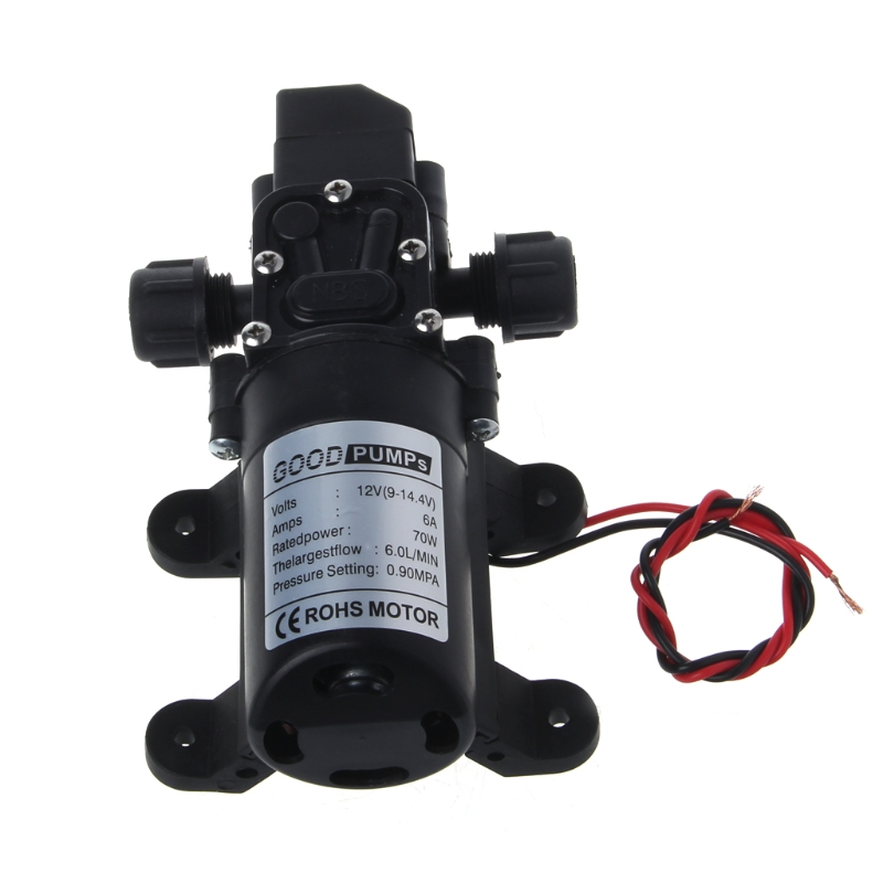 1pc High Quality DC12V 70W 130PSI Diaphragm Water Pump Small Safe High Pressure Self Priming Pump 6L/Min 165*100*62mm