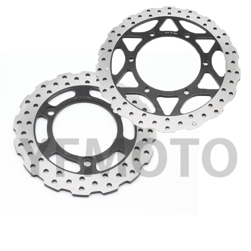 Hot Sales 1Set Motorcycle Rear Front Brake Disc Rotor For Kawasaki Ninja 250R 250 R  2008 2009 2010 2011 2012  Stainless steel 1 set motorcycle front