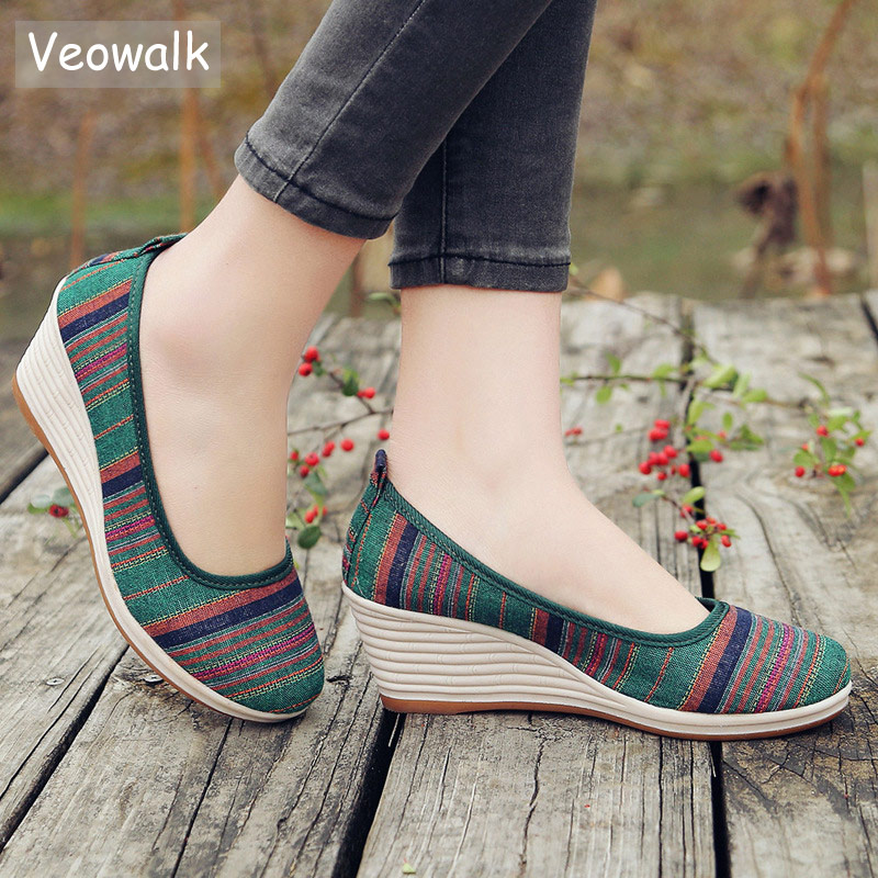 Veowalk Colorful Striped Women Casual Linen Cotton Wedge Heel Shoes Bohemian Middle-Age Ladies Soft Comfort Pumps Platforms