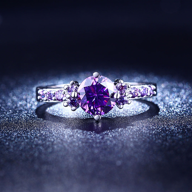 Romantic Purple AAA Cubic Zirconia Wedding Ring White Gold Color Engagement  Jewelry Jewelry Ladies Gifts MSR199