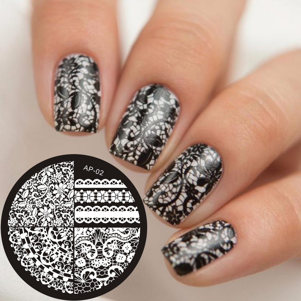 Ap Series Round Plates Nail Stencil Nail Art Image Plate Template
