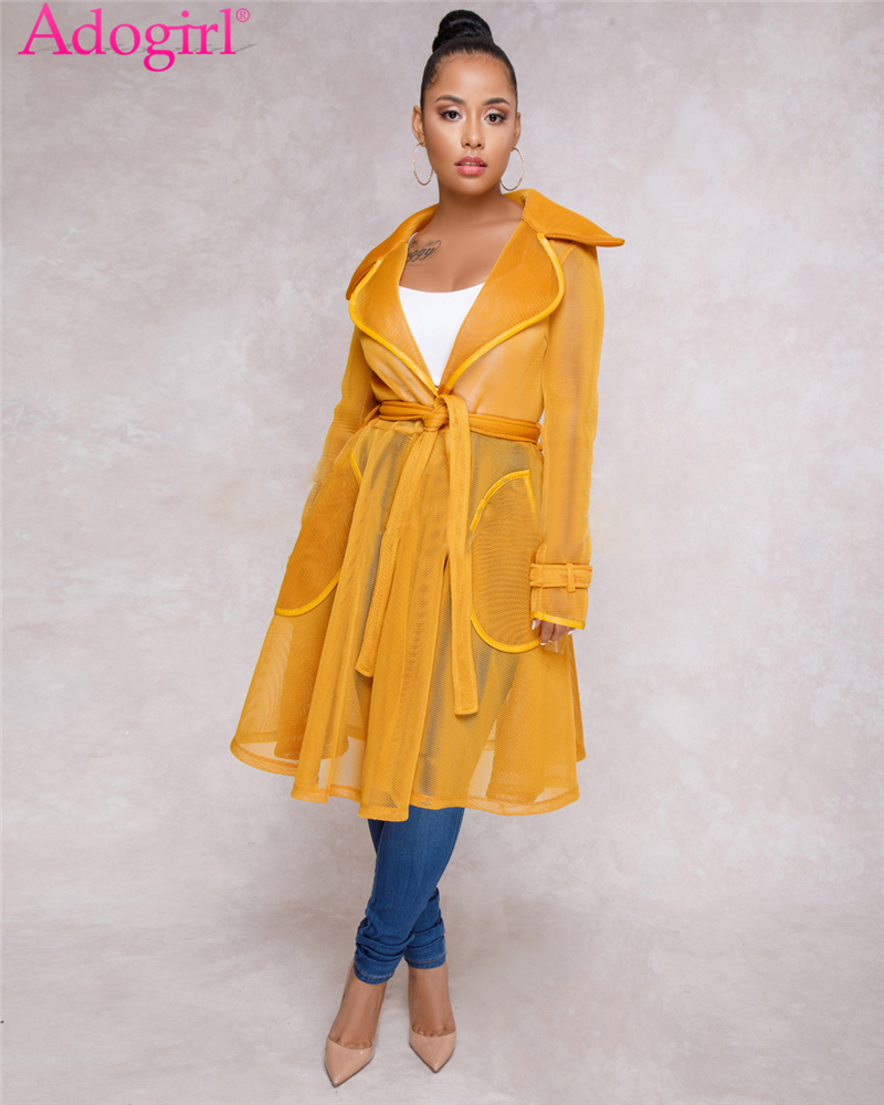 Adogirl Sexy Sheer Mesh Long Trench Coat with Belt Turn Down Collar Full Sleeve Pockets Fashion Coat Dress Casual Outerwear