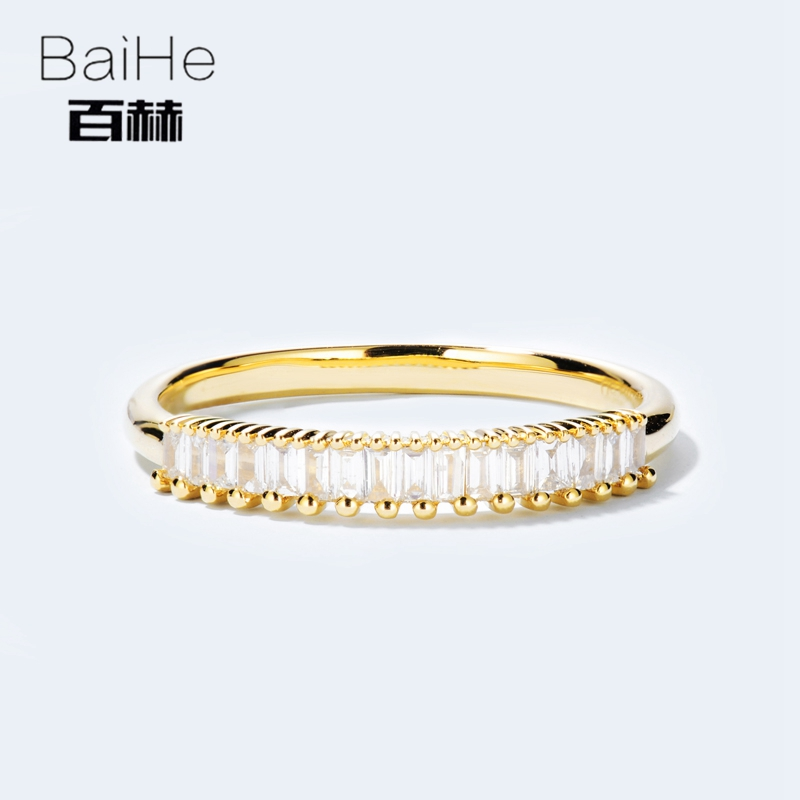 BAIHE Solid 14K Yellow Gold 0.2CT Certified H/SI 100% Genuine Natural Diamonds Engagement Women Trendy Fine Jewelry gift Ring цена