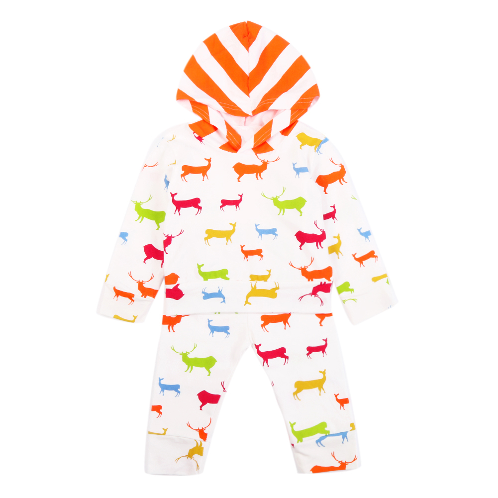 Fashion 2pcs Boys Suits Colorful Deer Printed Hooded Long Sleeved Coat + Long Pants Cotton Baby Boy Clothes Set
