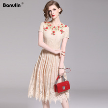 Banulin 2019 Fashion Runway Vintage Summer Dress A Line Womens Sleeveless Apricot Mesh Embroidery Beading applique Lace