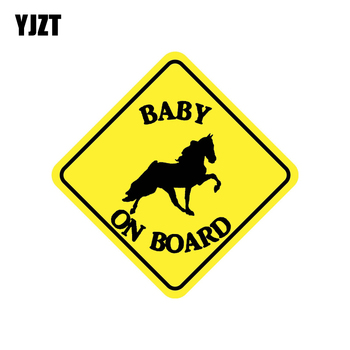 YJZT 13.8CM*13.8CM BABY ON BOARD Car Sticker PVC Warning A Pentium Horse Decal 12-40174 image