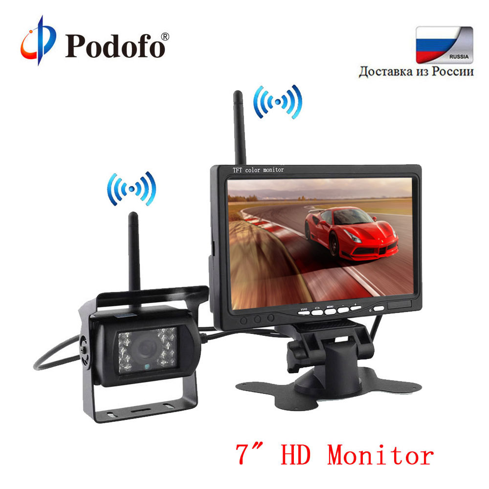 Podofo 7 LCD HD Car Rear View Monitor Wireless Backup Camera System Parking Assistance Digital Display For RV Truck Trailer Bus podofo wireless truck vehicle car rear view backup camera 7 hd monitor ir night vision parking assistance waterproof for rv rc