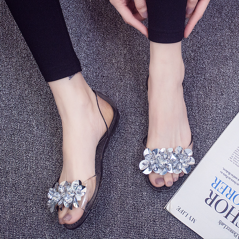 8650 summer new flat transparent shoes non-skid rhinestone slippers sandals8650 summer new flat transparent shoes non-skid rhinestone slippers sandals
