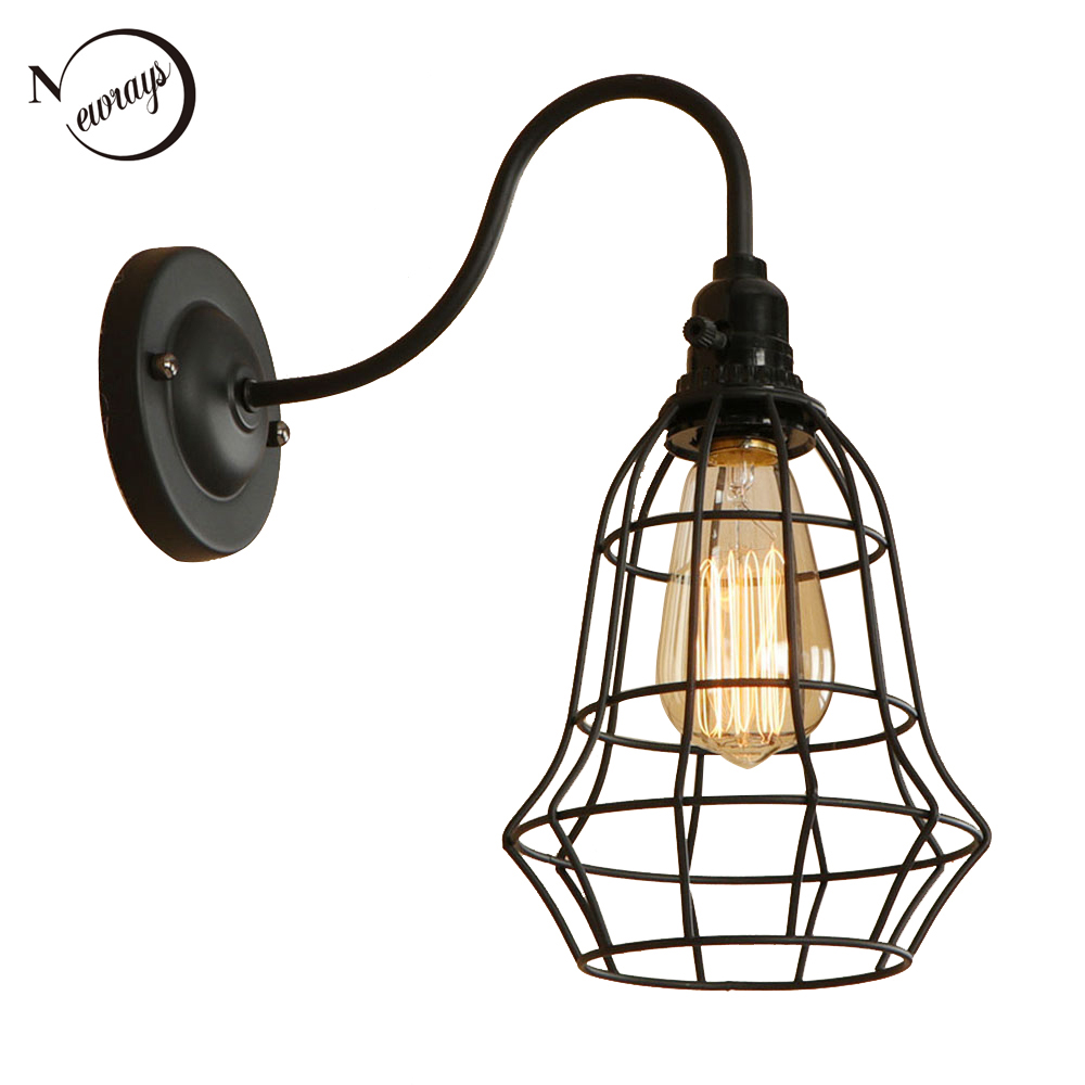Vintage iron cage painted black wall lamp LED E27 industrial wall light for bedroom aisle corridor hotel cafe washroom lobby bar|LED Indoor Wall Lamps| |  - title=