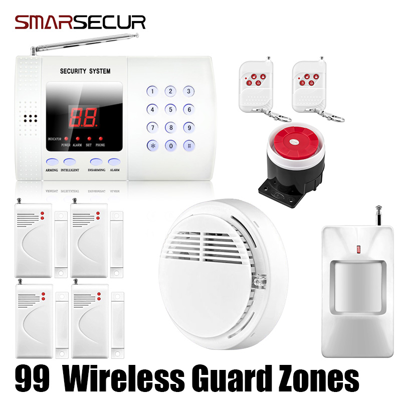Smarsecur Wireless PIR Home Security Burglar Alarm System Auto Dialing Dialer Easy DIY chuangkesafe wholesale or retail new wireless 99 zones pir home security pstn burglar alarm system auto dialing easy diy