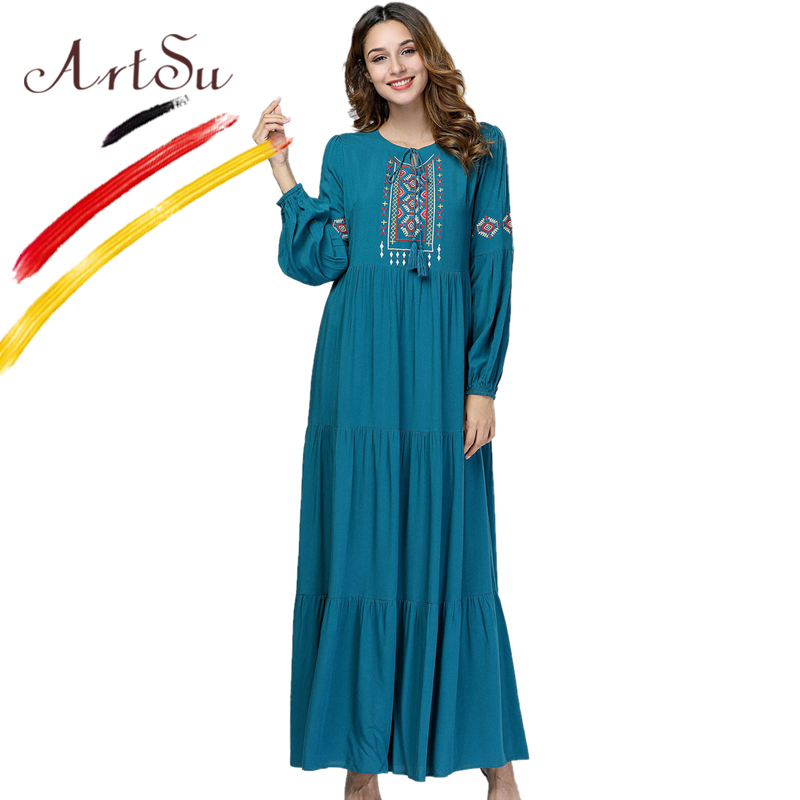 ArtSu Women Green Geometric Embroidery Retro Ethnic Maxi Dress Autumn Swing Pleated Robe Femme Yellow Casual Plus Size Dress