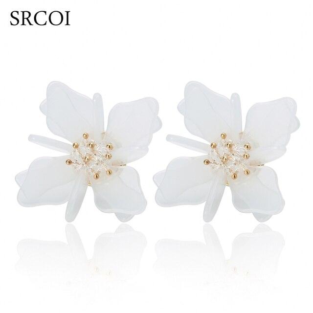 SRCOI Neue Mode Meer Triebene Kristalle Blumen Weiße Ohrstecker dame ...
