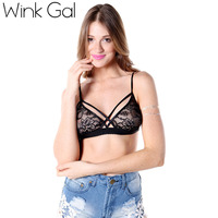 Wink Gal Fashion Sexy Lace Racer Back Push Up Seamless Bra Black Smoothing Back Halter Push