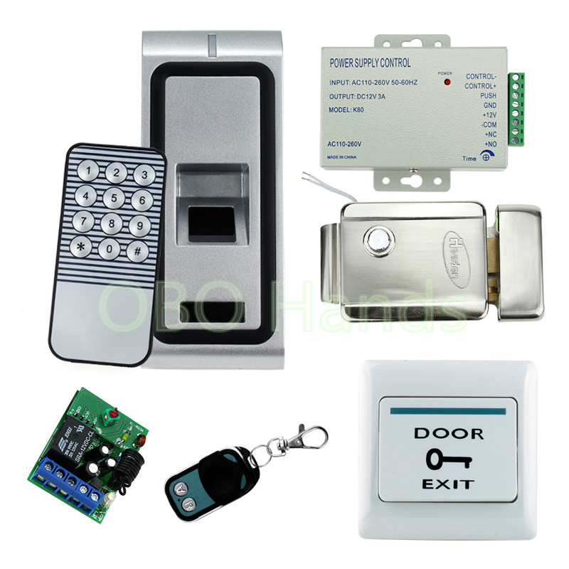 Full metal fingerprint access control system kit set with biometric door lock security door lock+remote control+door exit switch biometric fingerprint access controller tcp ip fingerprint door access control reader