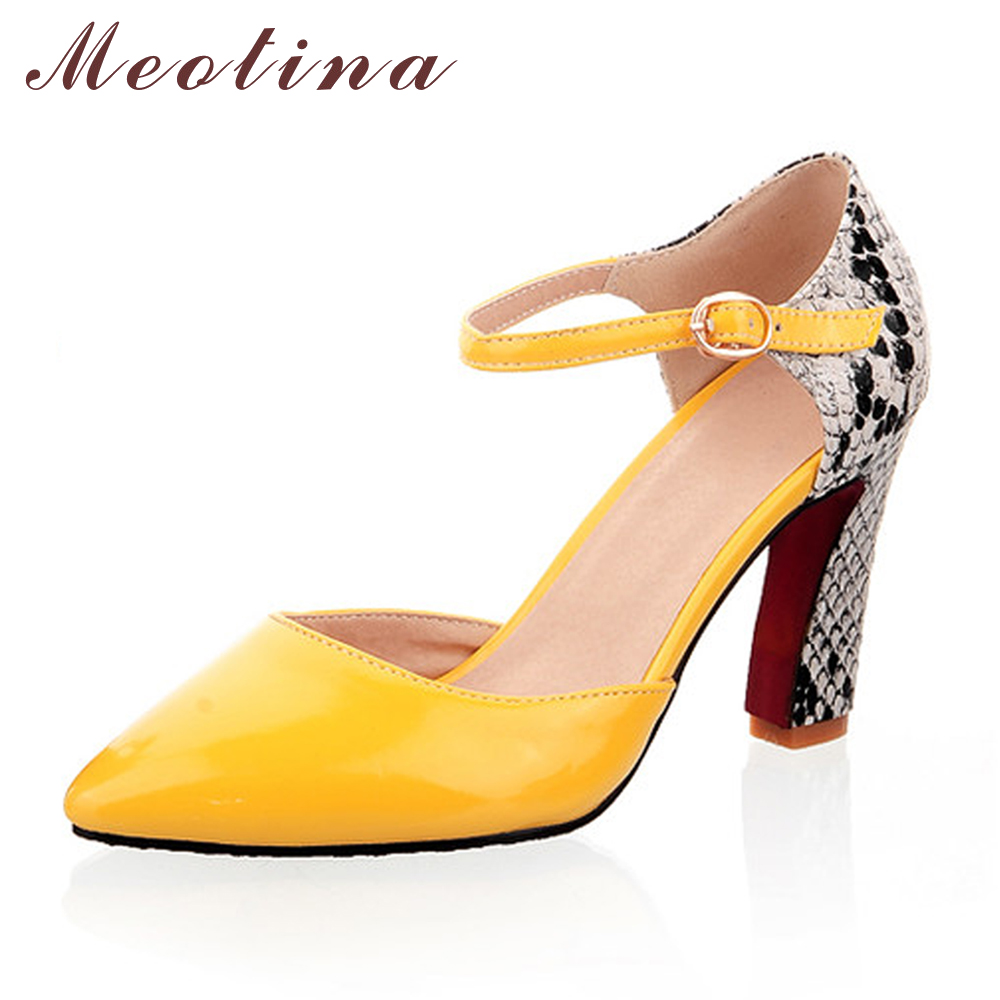 Meotina Women Shoes Pumps Pointed Toe High Heels Sexy Two Piece Ankle Strap Heels Party White Lady Shoes Yellow Size 11 12 meotina high heels shoes women pumps party shoes fashion thick high heels pointed toe flock ladies shoes gray plus size 10 40 43