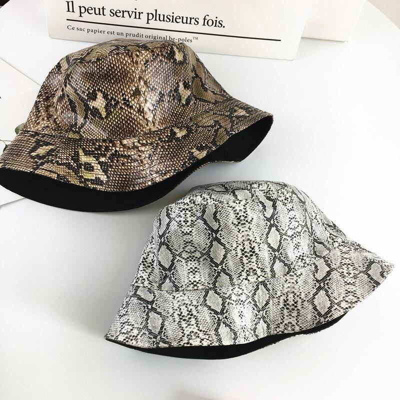 66a59182 2019 Cotton Snake print Both sides Bucket Hat Fisherman Hat outdoor travel  hat Sun Cap Hats