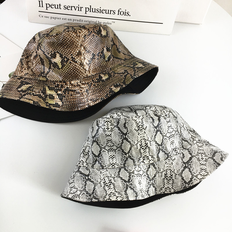 2019 Cotton Snake Print Both Sides Bucket Hat Fisherman Hat Outdoor Travel Hat Sun Cap Hats For Men And Women 180
