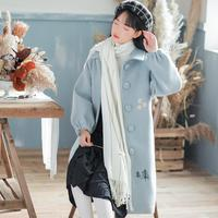 HANZANGL New Autumn Winter Women Wool Coat Embroidery Sweet Lady Chic Wollen Coat Long Overcoat pink/green/blue/apricot