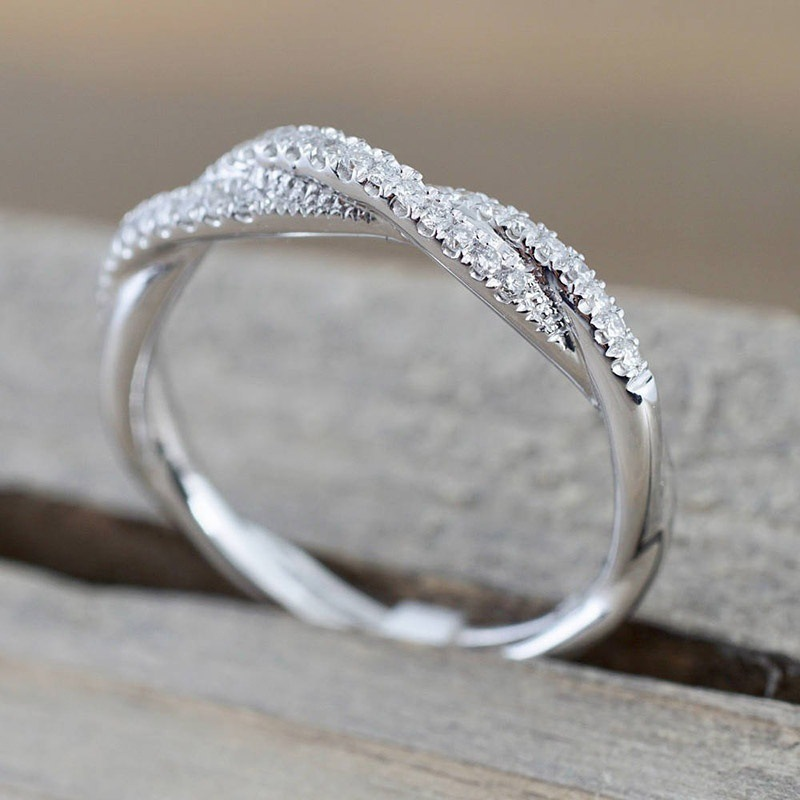 Sterling Silver Colored Crystal Twisted Pattern Ring