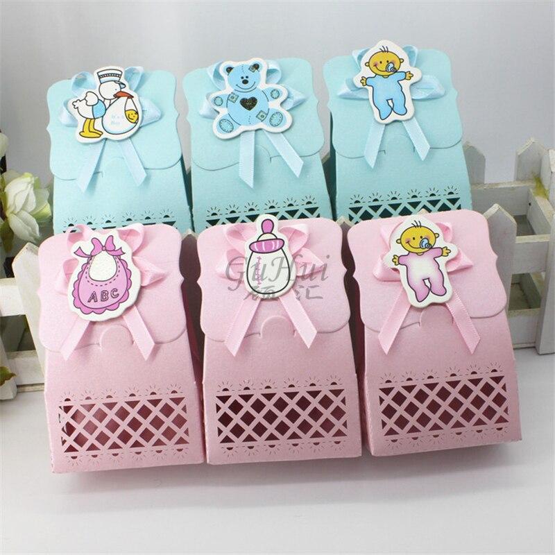 Boy & Girl Baby Shower Candy Box Window Party Supplies Decoration Pram Cute Kids Birthday Gift Bag Bear Feeding Bottle Print