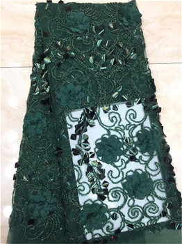 2019 Latest Dark Green French Africa Lace Fabric High Quality African Embroidered Tulle Lace Fabric For Appliqued Wedding Dress