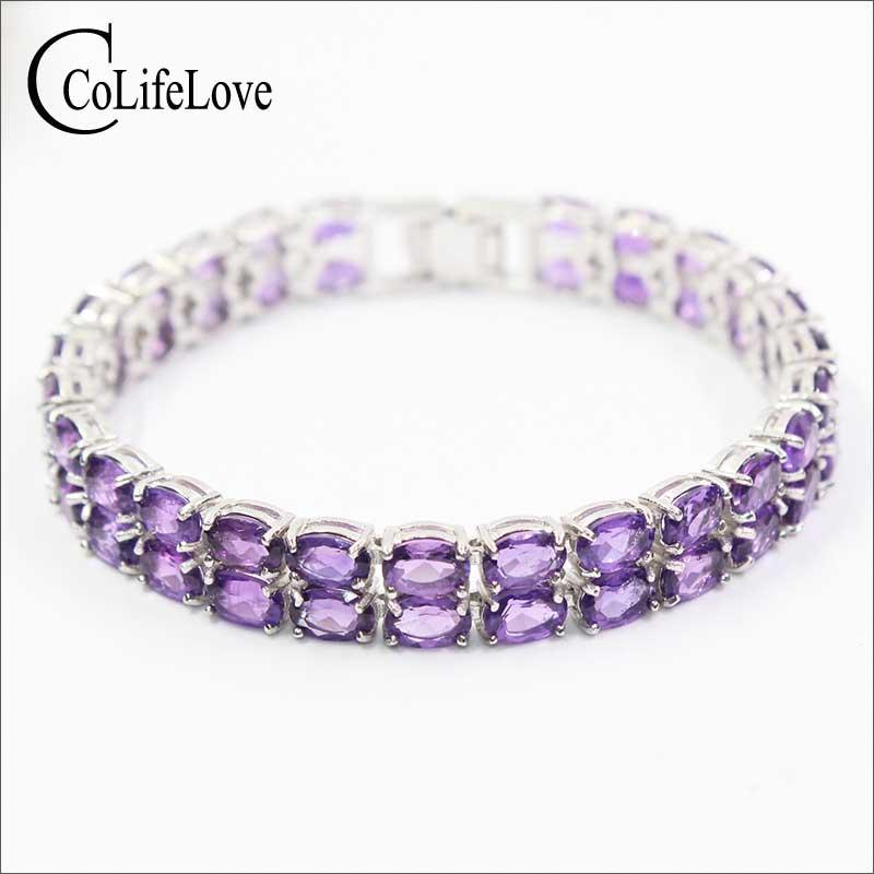 Classic double rows amethyst bracelet 50PCS natural amethyst gems silver bracelet luxurious solid 925 silver amethyst bracelet lalique amethyst eclat