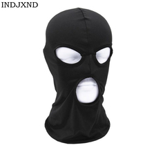 Новинка, Полнолицевая маска, 3 отверстия, Балаклава, вязаная шапка зима, стрейч, Снежная маска, шапочка, шапка, новинка, Черные Теплые маски для лица