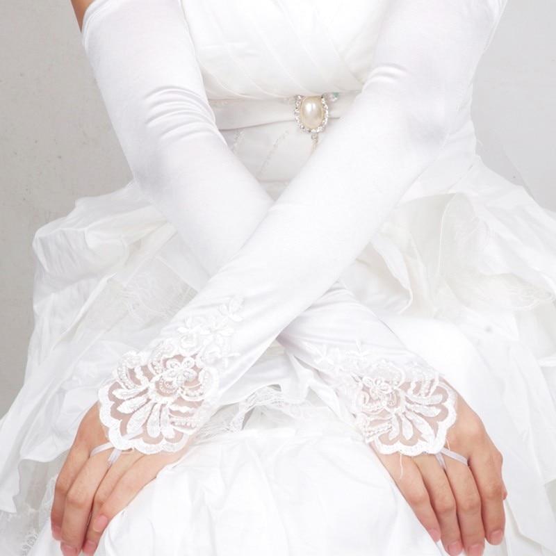 2018 Long Bridal Gloves Fingerless Woman Long Party Bridal Dance Gloves Opera White/Black/White