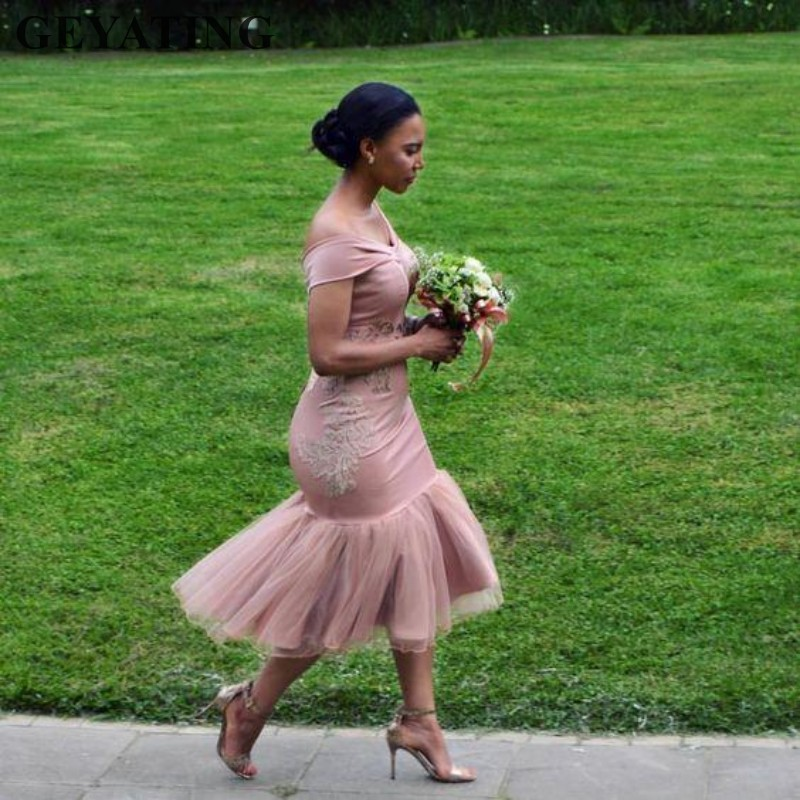 Dusty Pink Mermaid   Bridesmaid     Dresses   Short Tea Length Appliques African Women   Dress   for Wedding Party Gowns Vestido madrinha