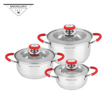 6PCS Stainless Steel Kitchen Casserole Pot Set Cookware Set with Induction Bottom 7l 18 5l stainless steel deep casserole soup pot with glass lid and induction bottom