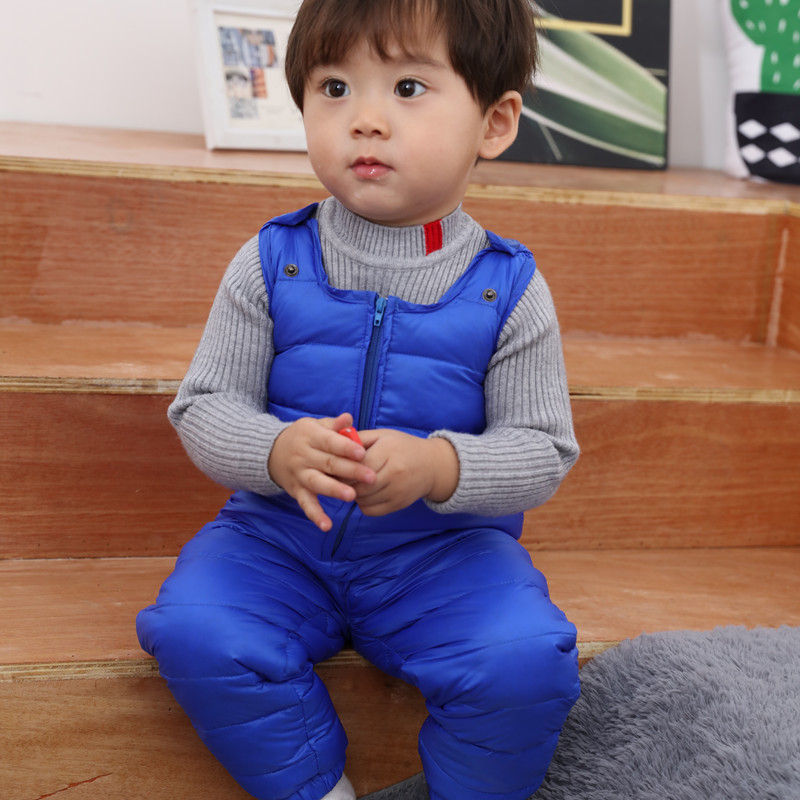 XYF1508 Spring Autumn Unisex Toddler Strap Rompers Kids Winter Duck Down Pants Child Suspender Trousers Baby Jumpsuit Overalls цена 2017