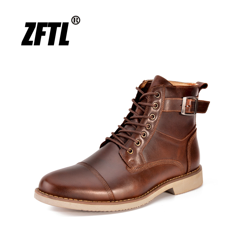 ZFTL New Men Martins Boots Handmade Men's Boots Genuine Leather Man Ankle Boots Casual Lace-up Male Shoes Motorcycle Boots   008