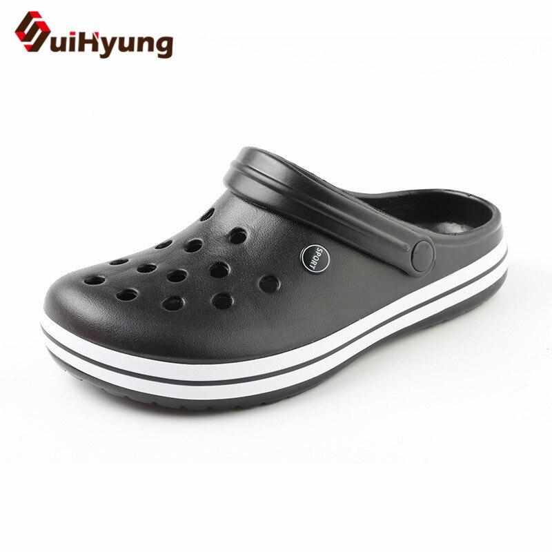 Suihyung Summer Men's Slippers Soft Bottom Non-slip Beach Shoes Flip Flops Man Outside Openwork Sandals Home Bathroom Slippers